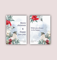 Winter floral blooming elegant wedding invitation vector