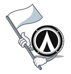 With flag dentacoin mascot cartoon style vector