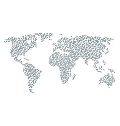 Worldwide map collage of break chain link icons vector