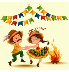 Young couple man woman dancing salsa on festivals vector