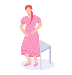 young happy pregnant girl near chair woman vector image