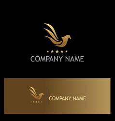 Bird pigeon fly star gold logo vector
