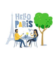 couple siting at parisian cafe vector image vector image