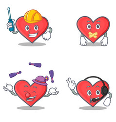 set of heart character with automotive silent vector image vector image