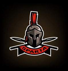 spears and spartan battle helmet logo vector image vector image