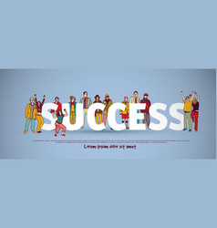 success team group business people sign vector image vector image