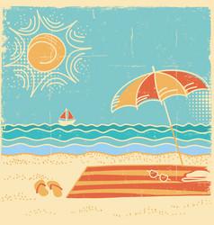 beach scene sea landscape vintage on vector image vector image
