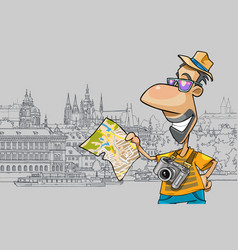 cartoon happy tourist looking at the map vector image vector image