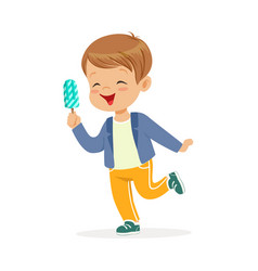 cute little boy character feeling happy with his vector image vector image