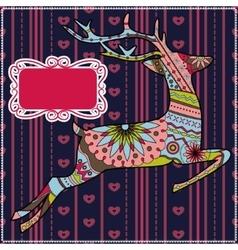 Deer christmas background vector image vector image