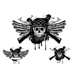 skull in an army helmet vector image vector image