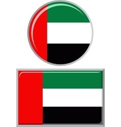 United Arab Emirates round and square icon flag vector image