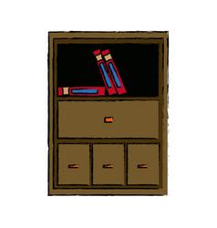 cabinet shelf furniture wooden office books vector image
