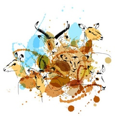 Colored hand sketch antelope vector image vector image