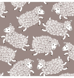 Seamless pattern with cute sheep vector image vector image