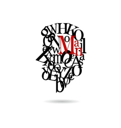 Typography man silhouette vector image vector image