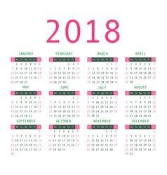 calendar 2018 year simple style vector image