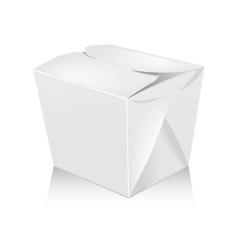 closed white blank wok box mockup 3d vector image