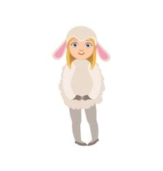 Girl wearing sheep animal costume vector
