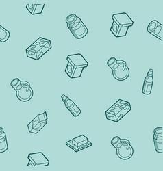 milk flat outline isometric pattern vector image