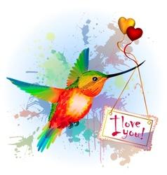 Rainbow humming-bird with Valentines Card vector image