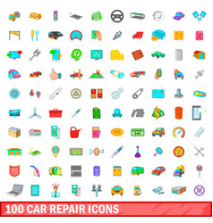 100 car repair icons set cartoon style vector image