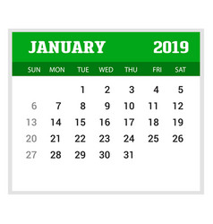 2019 happy new year january calendar template vector