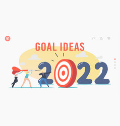 2022 year goal ideas landing page template tiny vector image
