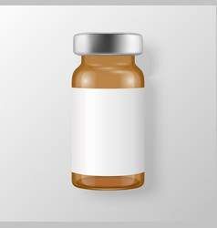 3d realistic brown bottle vaccine icon vector
