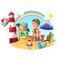 A family at the beach with a lighthouse vector