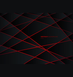 Abstract black geometric polygon on red laser vector