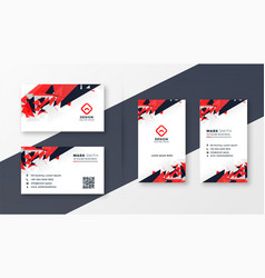 abstract red and black business card design vector image