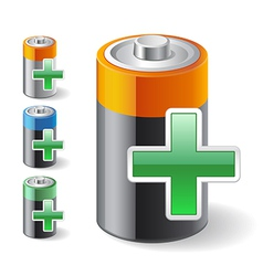 Add Green Plus with Battery Icons vector image