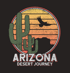 arizona t-shirt typography with cactus mountain vector image