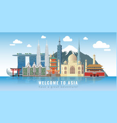 asia skyline travel landmarks panoramic poster vector image