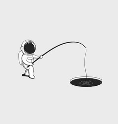 Baby astronaut fishing in the ice hole with space vector