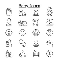 Baby infant icon set in thin line style vector