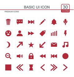 basic icons set red vector image