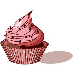 big pink cupcake vector image