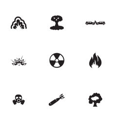Black disaster icons set vector