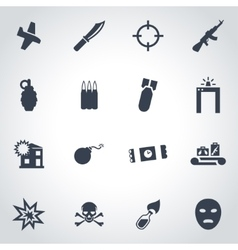 black terrorism icon set vector image