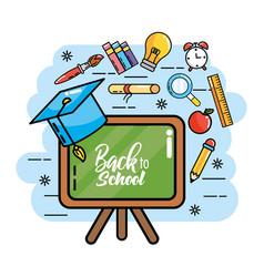 Blackboard with graduation cap and pencils colors vector