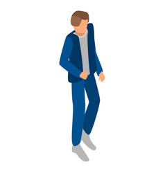 blue man at shop icon isometric style vector image