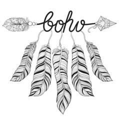 Boho chic ethnic Arrow with feathers freedom vector image
