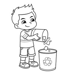 boy throwing garbage in the trash can bw vector image