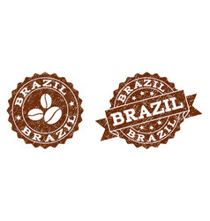 brazil stamp seals with grunge texture in coffee vector image