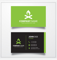 Campfire icon business card template vector