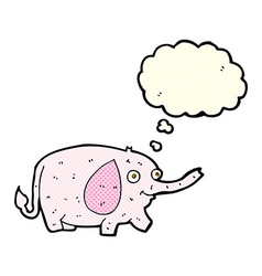 Cartoon funny little elephant with thought bubble vector