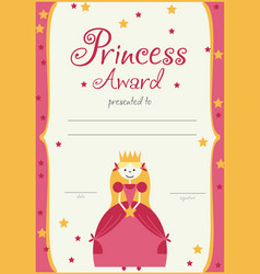 Certificate template princess girls birthday vector