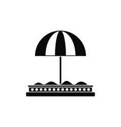 Children sandbox with red umbrella icon vector image